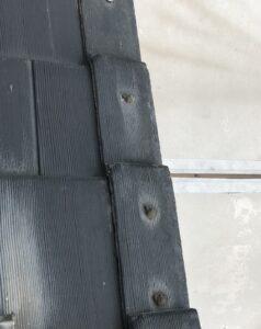 袖瓦のクギ浮き補修