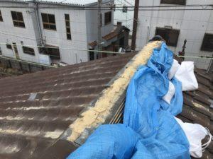棟瓦欠損の補修工事 施工前