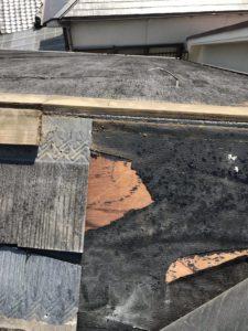 泉大津市での台風被害による屋根修理 施工前