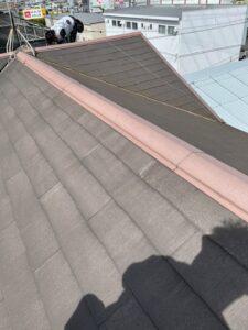 スレート補修及び棟板金交換作業